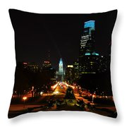 The Parkway At Night Throw Pillow