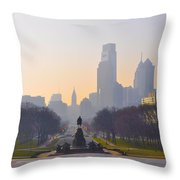 The Parkway In The Morning Throw Pillow