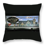 The Partridge And Pear Restaurant Throw Pillow