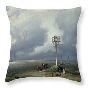The Passage Du Gois At Noirmoutier, 1859 Oil On Canvas Throw Pillow