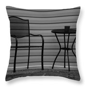 The Patio Chairs In Black And White Throw Pillow