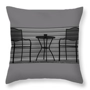 The Patio In Black And White Throw Pillow by Rob Hans