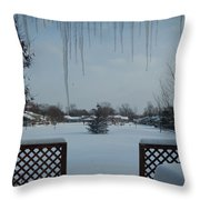 The Patio In Winter Throw Pillow