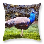 The Peacock Throw Pillow by Pixel  Chimp