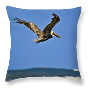 The Pelican And The Sea Throw Pillow