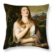 The Penitent Magdalene Throw Pillow