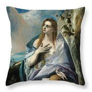 The Penitent Mary Magdalene Throw Pillow