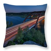 The Pennybacker Bridge At Twilight Throw Pillow