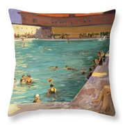 The Peoples Pool, Palm Beach, 1927 Throw Pillow