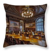 The Periodical Room At The New York Public Library Throw Pillow by Susan Candelario