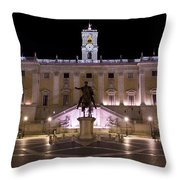 The Piazza Del Campidoglio At Night Throw Pillow