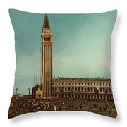 The Piazza San Marco Venice Throw Pillow