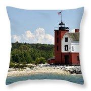 Round Island Lighthouse Mackinac The Picnic Spot Throw Pillow