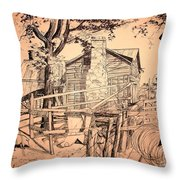 The Pig Sty Throw Pillow