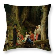 The Pilgrims From The Abbey Of St. Odile Oil On Canvas Throw Pillow