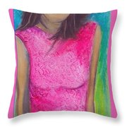 The Pink Dress Throw Pillow
