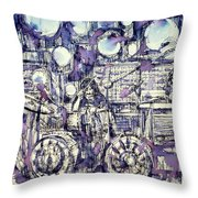 the PINK FLOYD in concert - drawing portrait Throw Pillow