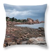 The Pink Granite Coast Brittany Throw Pillow