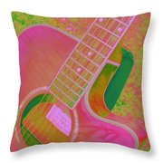My Pink Guitar Pop Art Throw Pillow