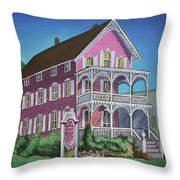 The Pink House In Cape May Throw Pillow