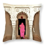 The Pink Sari Throw Pillow