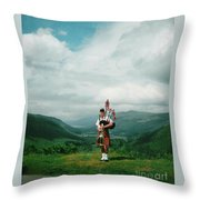 The Piper At The Great Glen Throw Pillow