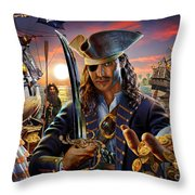 The Pirate Throw Pillow by Adrian Chesterman