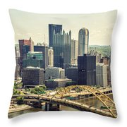 The Pittsburgh Skyline Throw Pillow by Lisa Russo