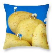 The Planting On Potatoes Little People On Food Throw Pillow