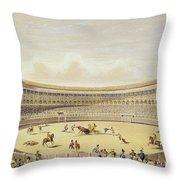 The Plaza De Toros Of Madrid, 1865 Throw Pillow