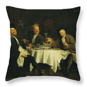 The Poet Alexis Piron 1689-1773 At The Table With His Friends, Jean Joseph Vade 1720-57 And Charles Throw Pillow
