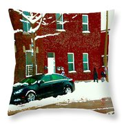 The Point Pointe St Charles Snowy Walk Past Red Brick House Winter City Scene Carole Spandau Throw Pillow