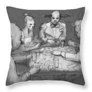 The Poker Game Throw Pillow