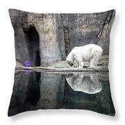 The Polar Bear And The Purple Chair Throw Pillow