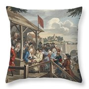 The Polling, Illustration From Hogarth Throw Pillow