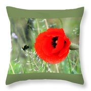 The Poppy And The Bee Throw Pillow