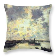 The Port Throw Pillow by Eugene Louis Boudin