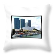 The Port Of Miami At Bayside Throw Pillow