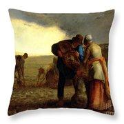 The Potato Harvest Throw Pillow by Jean Francois Millet
