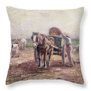 The Potato Pickers Throw Pillow by Harry Fidler