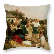 The Poultry Market Throw Pillow