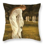 The Princess Tied To A Tree Throw Pillow by Sir Edward Coley Burne-Jones
