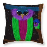 The Prismatic Crested Owl Throw Pillow
