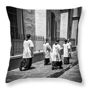 The Procession - Black And White Throw Pillow