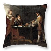 The Prodigal Son Receiving His Portion Of The Inheritance Throw Pillow