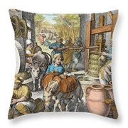 The Production Of Olive Oil, Plate 13 Throw Pillow