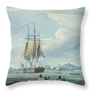 The Prometheus And The Melpomene In The Gulf Of Riga Throw Pillow by Thomas Whitcombe