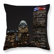 The Prudential Lit Up In Red White And Blue Throw Pillow