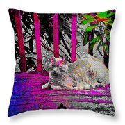 The Psychedelic Cat Throw Pillow