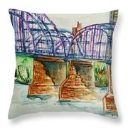 The Purple People Bridge Throw Pillow